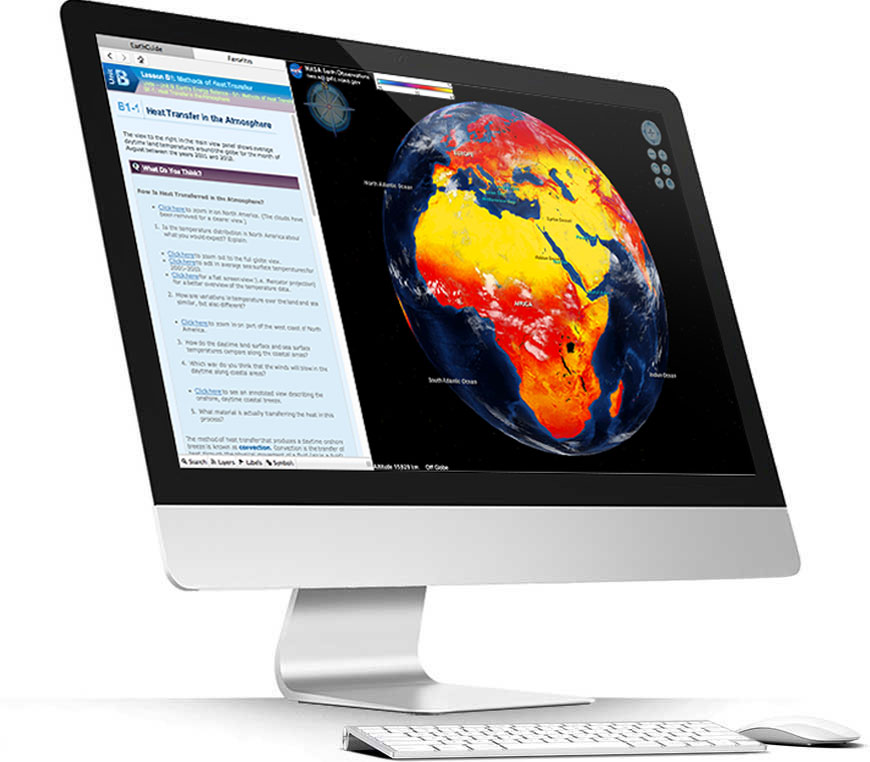 Apple iMac running Layered Earth Meteorology software showing heat transfer in the atmosphere simulation