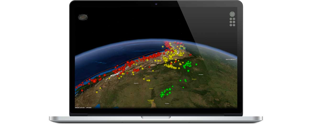 Layered Earth Geology Middle School/High School software showing historic earthquake activity simulation